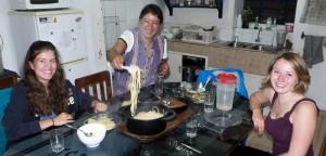 Beim gemeinsamen Abendessen in Chachapoyas